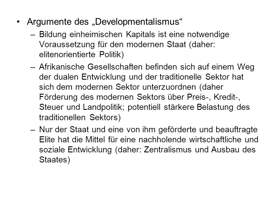 """Argumente des """"Developmentalismus"""