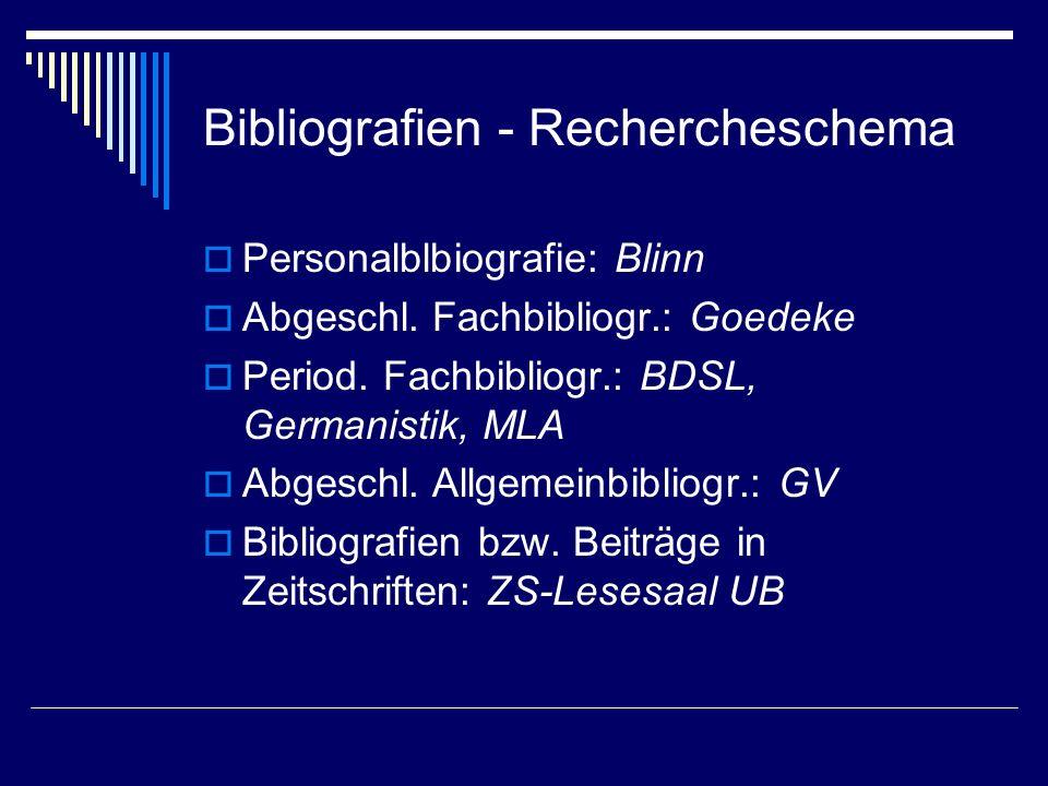 Bibliografien - Rechercheschema