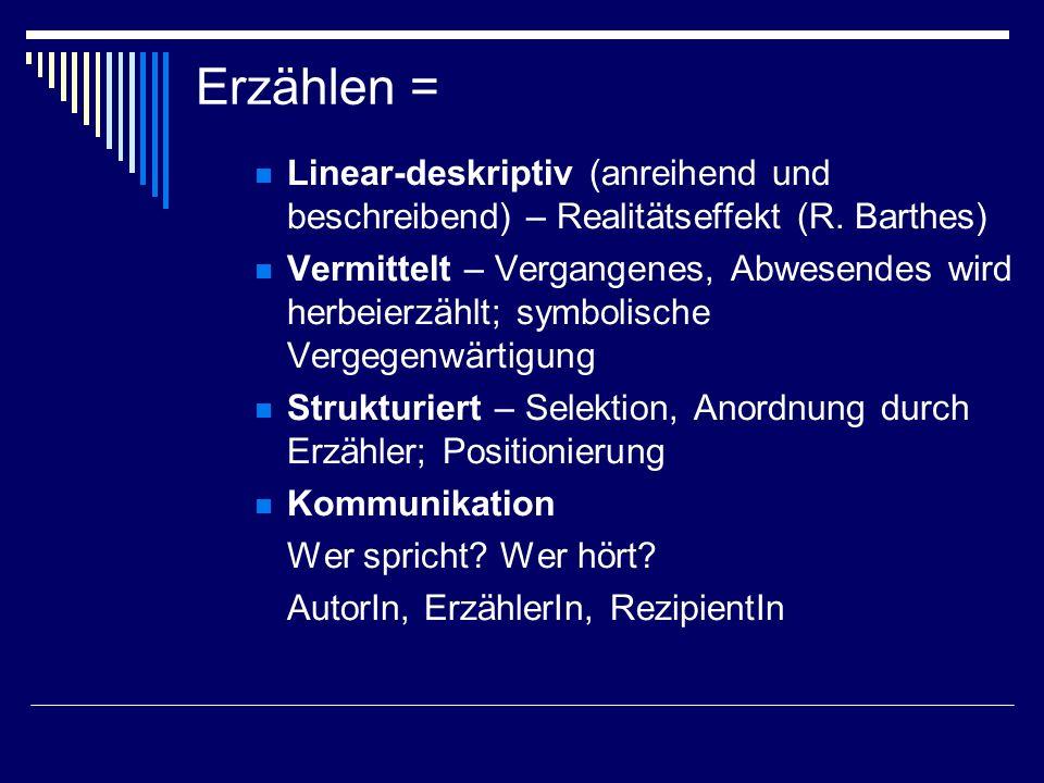 Erzählen = Linear-deskriptiv (anreihend und beschreibend) – Realitätseffekt (R. Barthes)