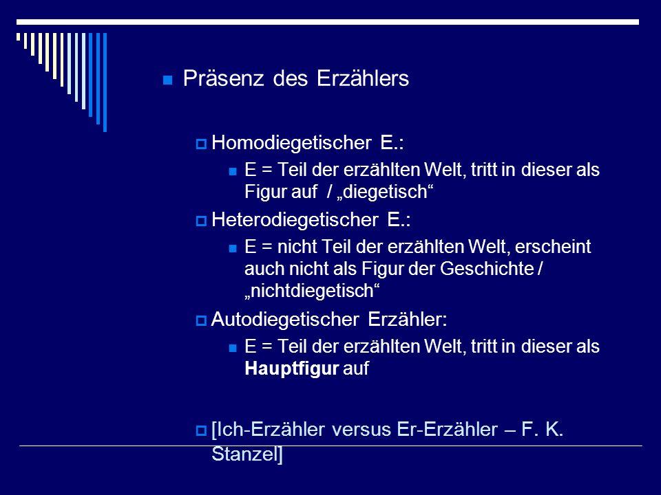 Präsenz des Erzählers Homodiegetischer E.: Heterodiegetischer E.: