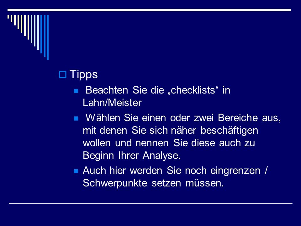 """Tipps Beachten Sie die """"checklists in Lahn/Meister"""
