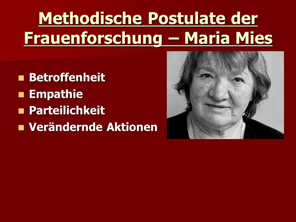 Methodische Postulate der Frauenforschung – Maria Mies