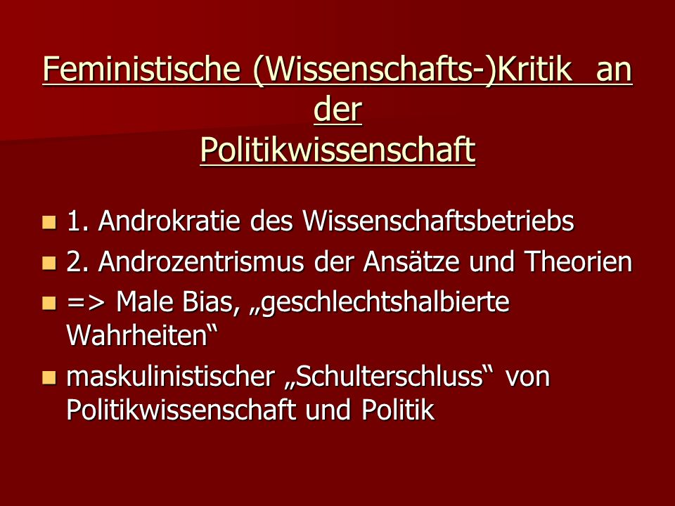 Feministische (Wissenschafts-)Kritik an der Politikwissenschaft