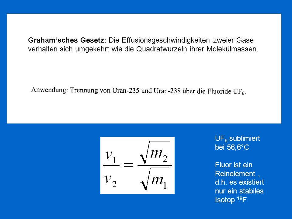 Graham'sches Gesetz: Die Effusionsgeschwindigkeiten zweier Gase verhalten sich umgekehrt wie die Quadratwurzeln ihrer Molekülmassen.