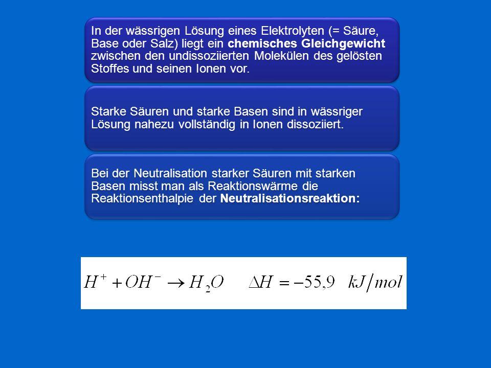 In der wässrigen Lösung eines Elektrolyten (= Säure, Base oder Salz) liegt ein chemisches Gleichgewicht zwischen den undissoziierten Molekülen des gelösten Stoffes und seinen Ionen vor.