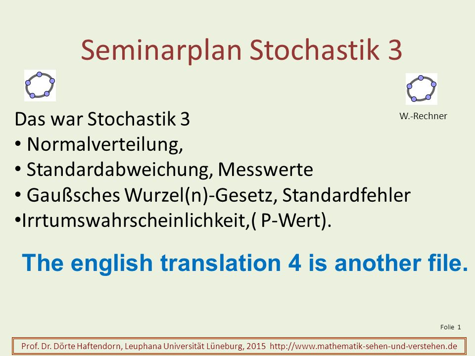 Seminarplan Stochastik 3