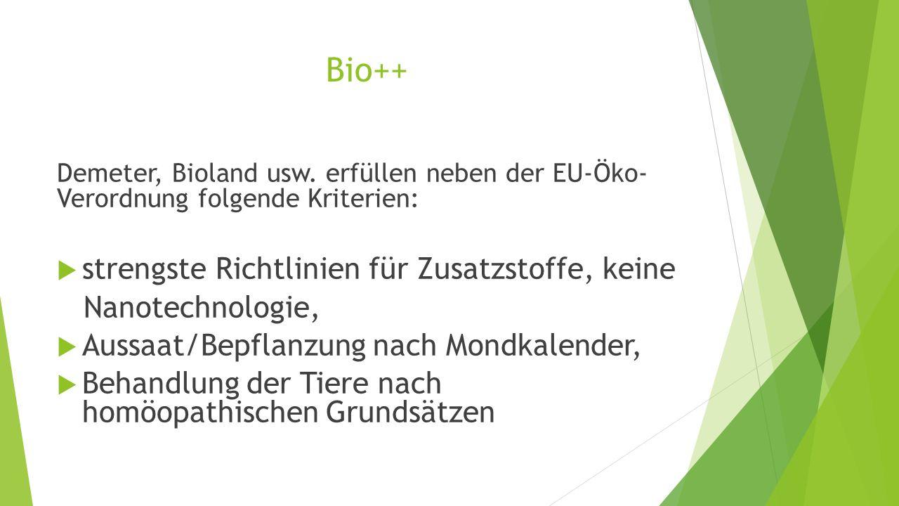 Bio++ strengste Richtlinien für Zusatzstoffe, keine Nanotechnologie,
