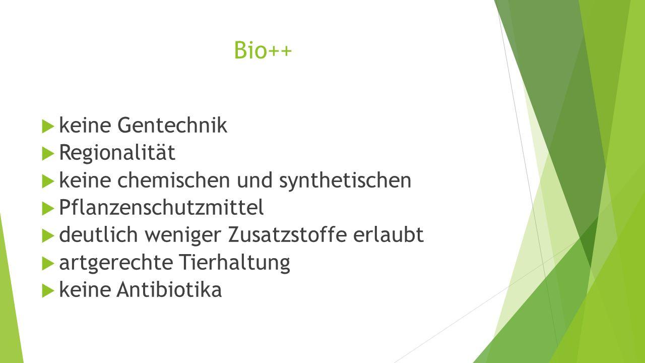 Bio++ keine Gentechnik Regionalität keine chemischen und synthetischen