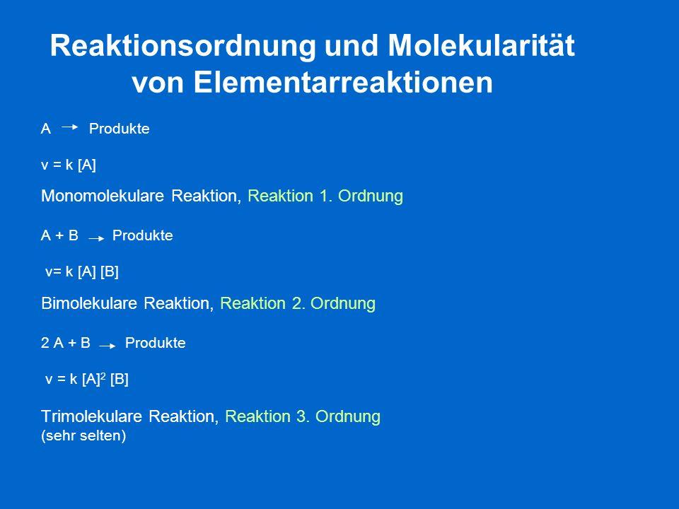 Reaktionsordnung und Molekularität von Elementarreaktionen