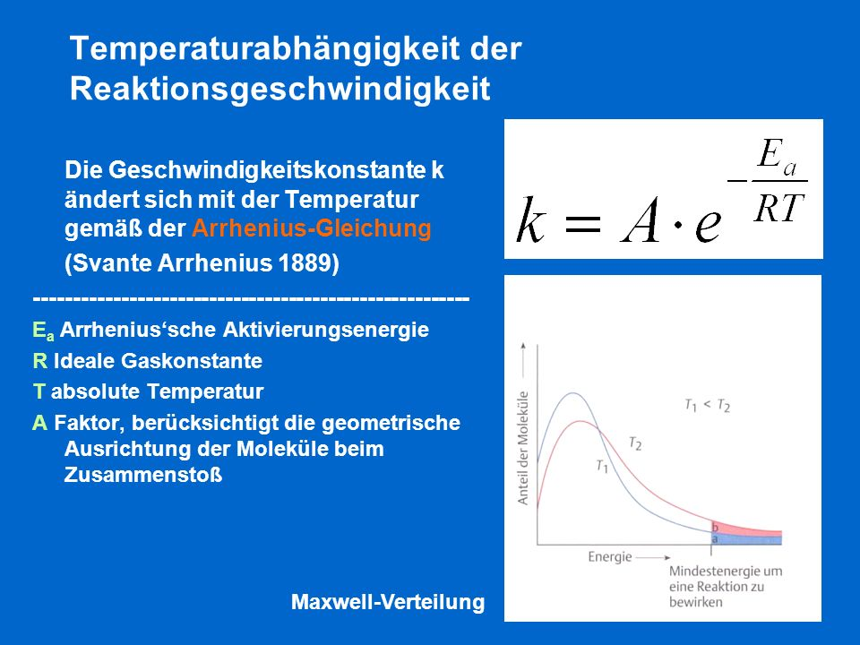 Temperaturabhängigkeit der Reaktionsgeschwindigkeit