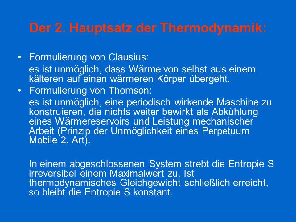 Der 2. Hauptsatz der Thermodynamik: