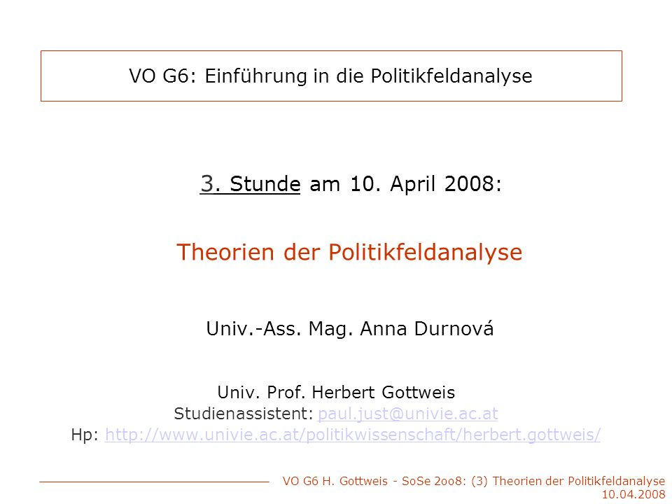 VO G6: Einführung in die Politikfeldanalyse