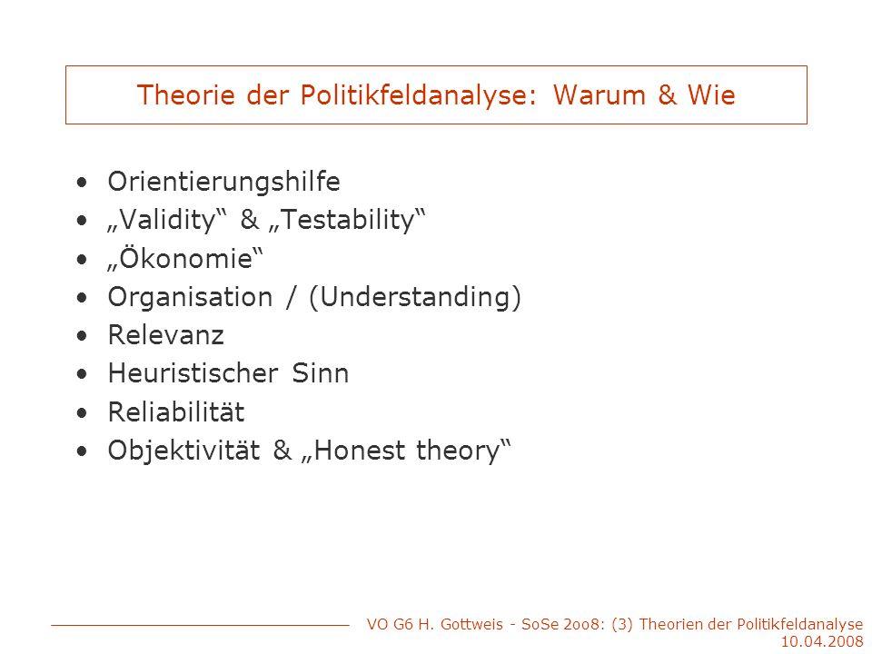 Theorie der Politikfeldanalyse: Warum & Wie