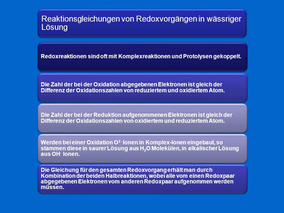 Reaktionsgleichungen von Redoxvorgängen in wässriger Lösung