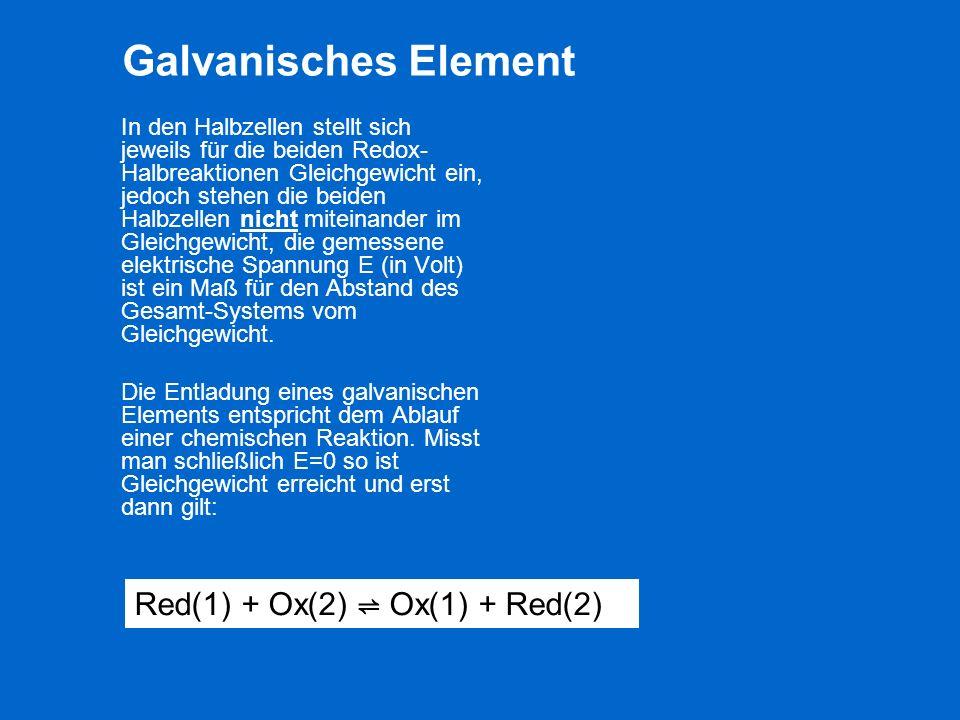 Galvanisches Element Red(1) + Ox(2) ⇌ Ox(1) + Red(2)