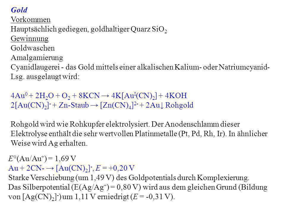 Gold Vorkommen. Hauptsächlich gediegen, goldhaltiger Quarz SiO2. Gewinnung. Goldwaschen. Amalgamierung.