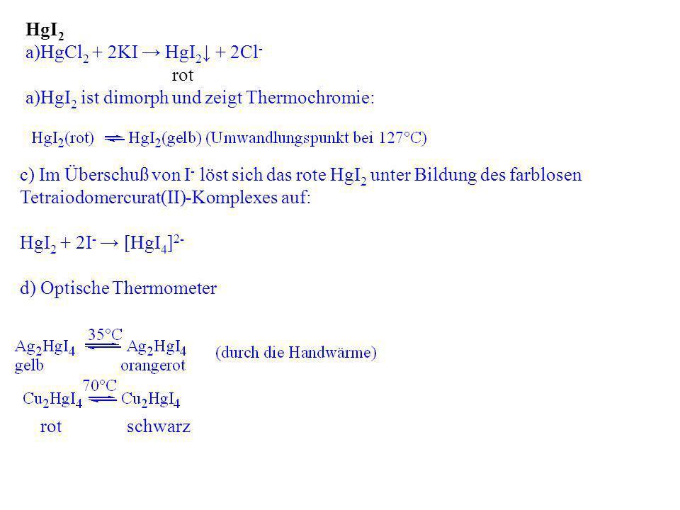 HgI2 ist dimorph und zeigt Thermochromie: