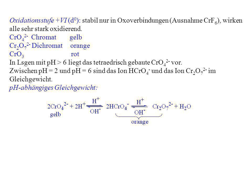 Oxidationsstufe +VI (d0): stabil nur in Oxoverbindungen (Ausnahme CrF6), wirken alle sehr stark oxidierend.
