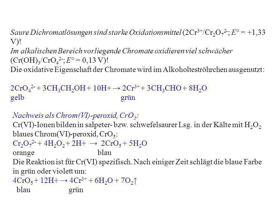 Saure Dichromatlösungen sind starke Oxidationsmittel (2Cr3+/Cr2O72-; E° = +1,33 V)!