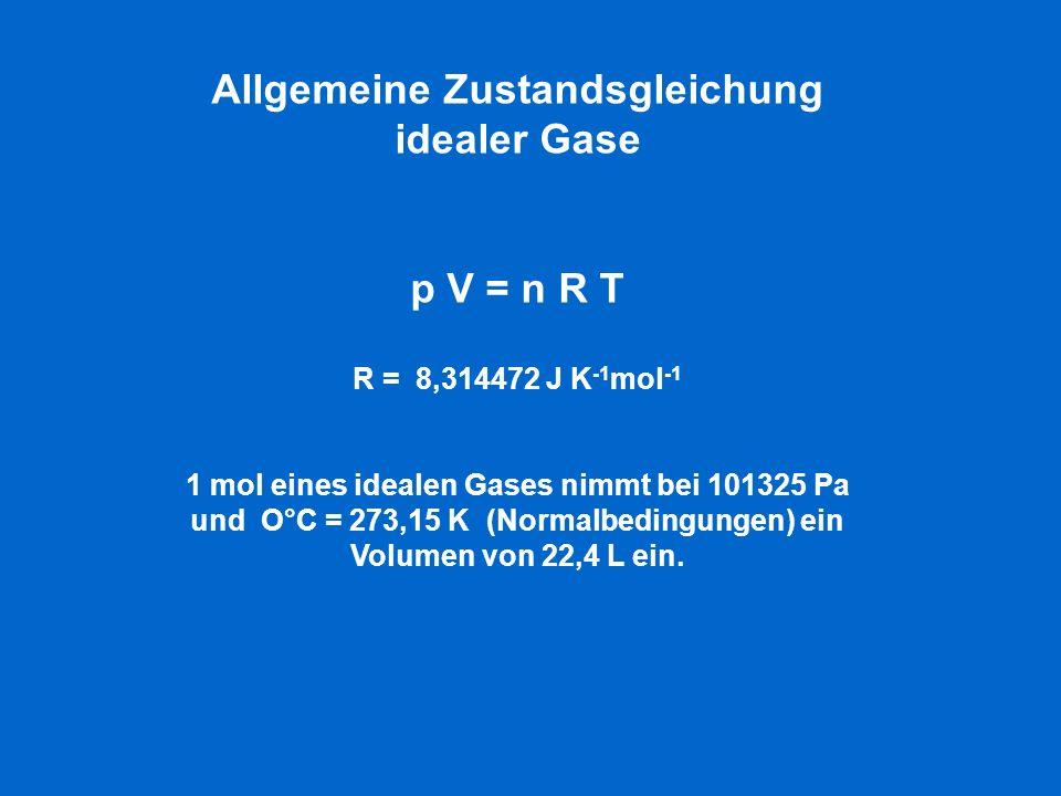 Allgemeine Zustandsgleichung idealer Gase