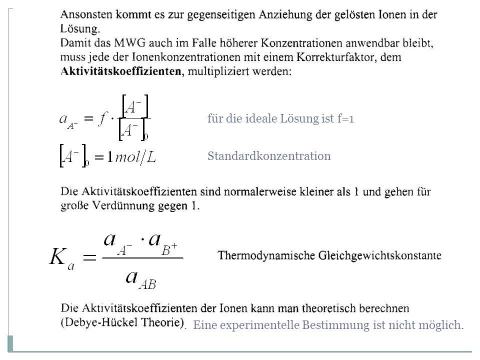 für die ideale Lösung ist f=1