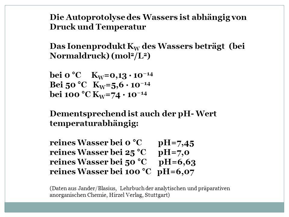 Die Autoprotolyse des Wassers ist abhängig von Druck und Temperatur