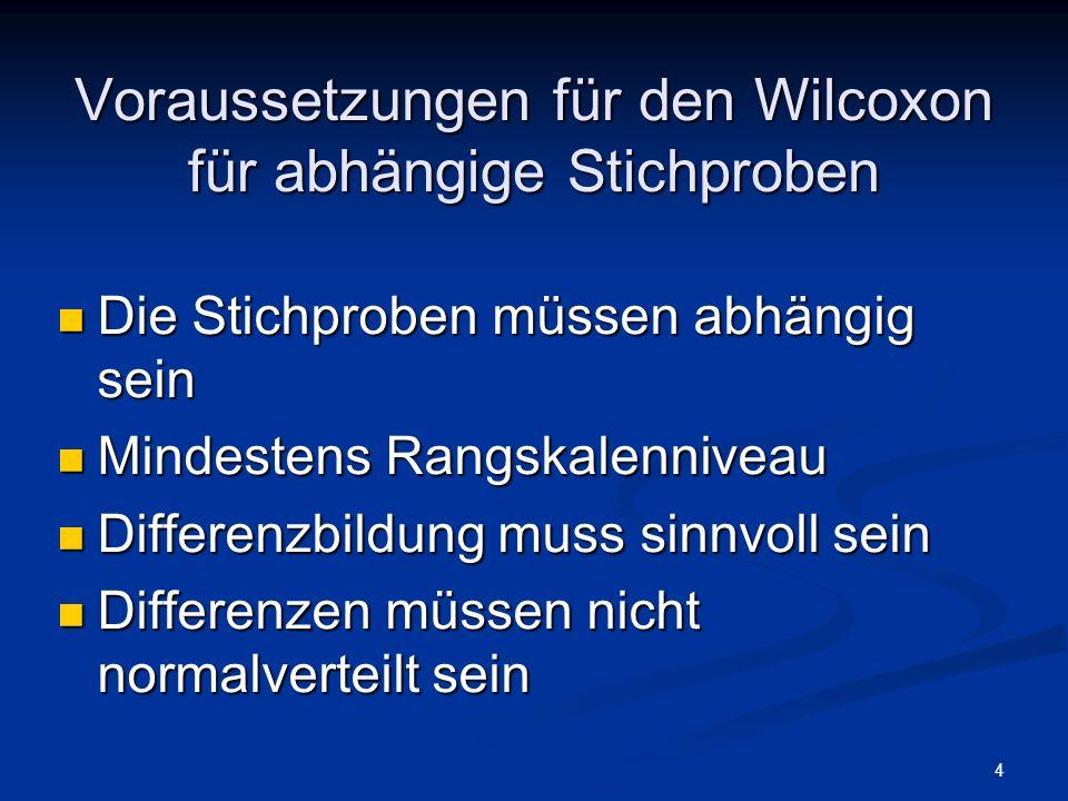 Voraussetzungen für den Wilcoxon für abhängige Stichproben