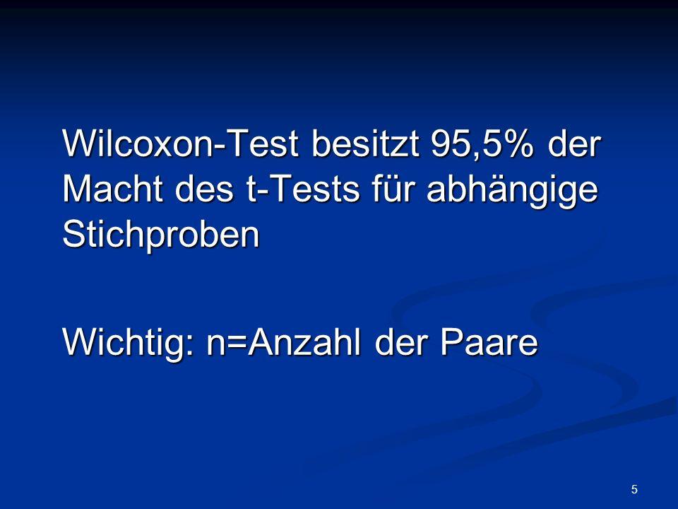 Wilcoxon-Test besitzt 95,5% der Macht des t-Tests für abhängige Stichproben