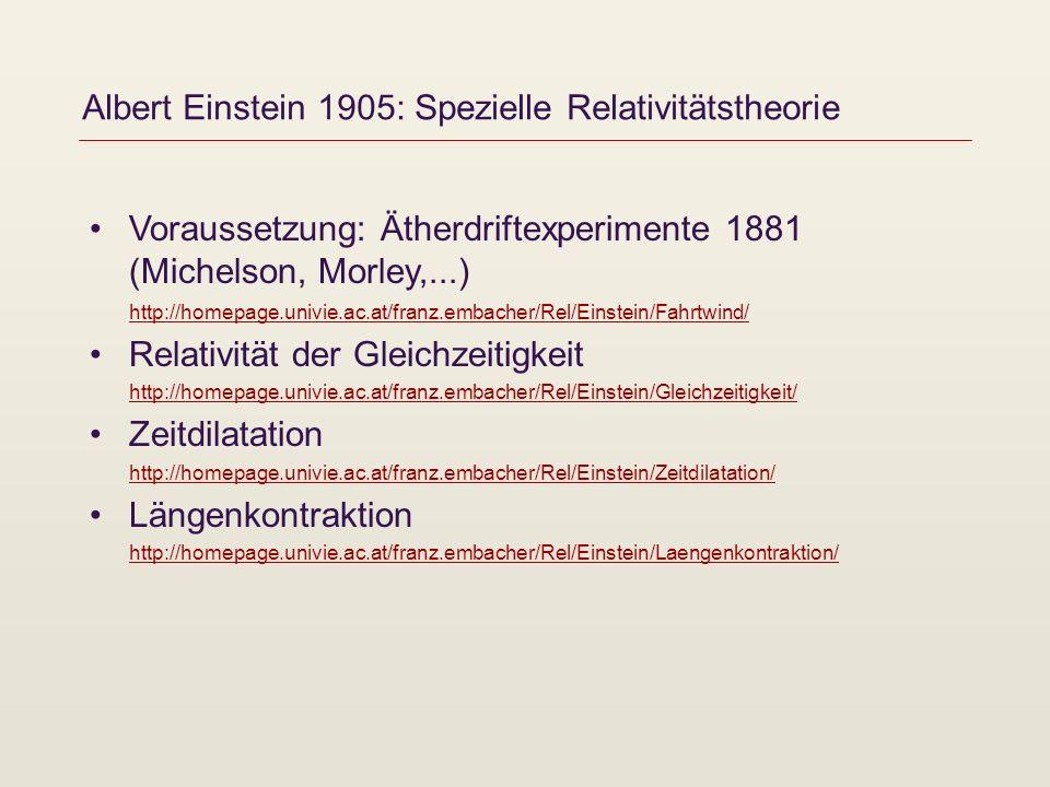 Albert Einstein 1905: Spezielle Relativitätstheorie