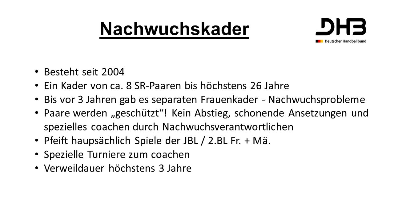 Nachwuchskader Besteht seit 2004