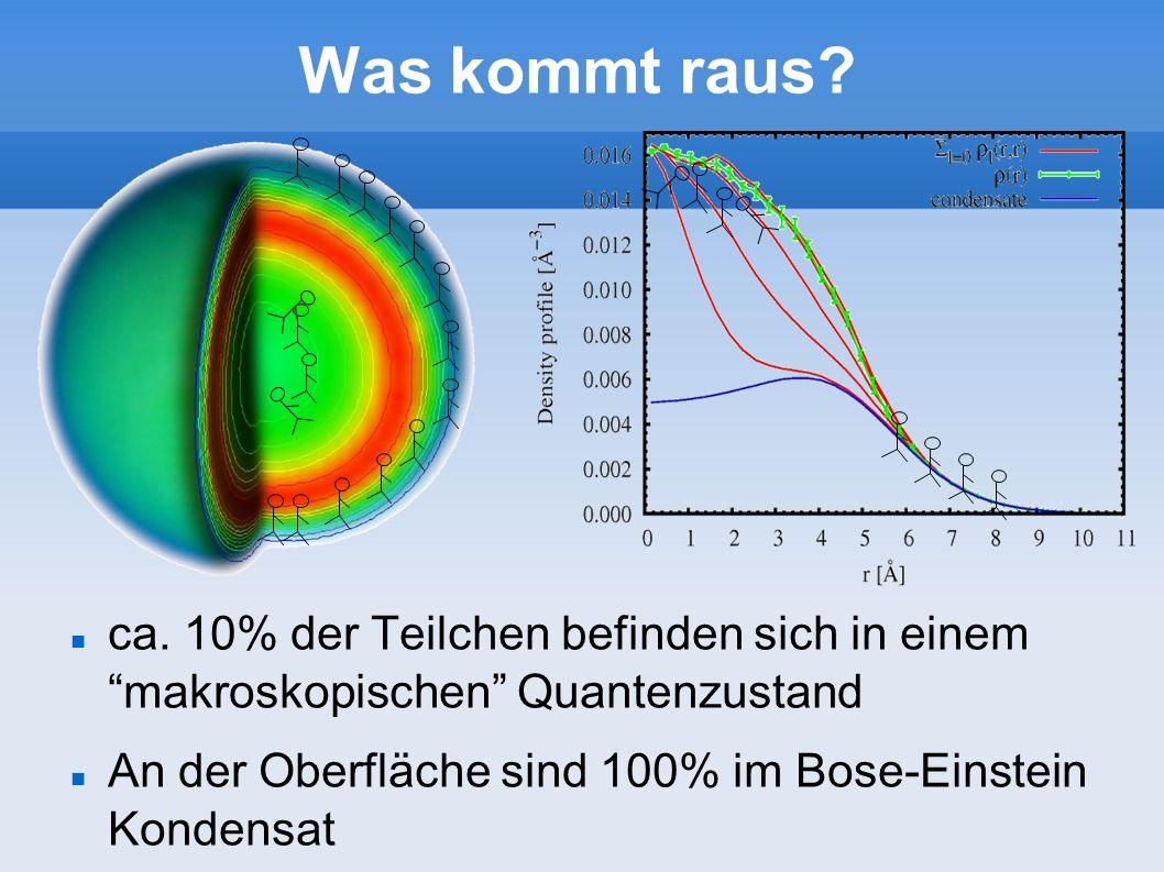 Was kommt raus ca. 10% der Teilchen befinden sich in einem makroskopischen Quantenzustand.