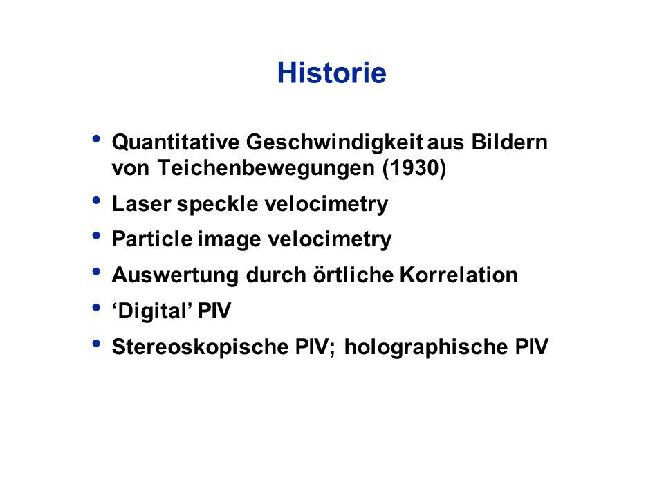 Historie Quantitative Geschwindigkeit aus Bildern von Teichenbewegungen (1930) Laser speckle velocimetry.