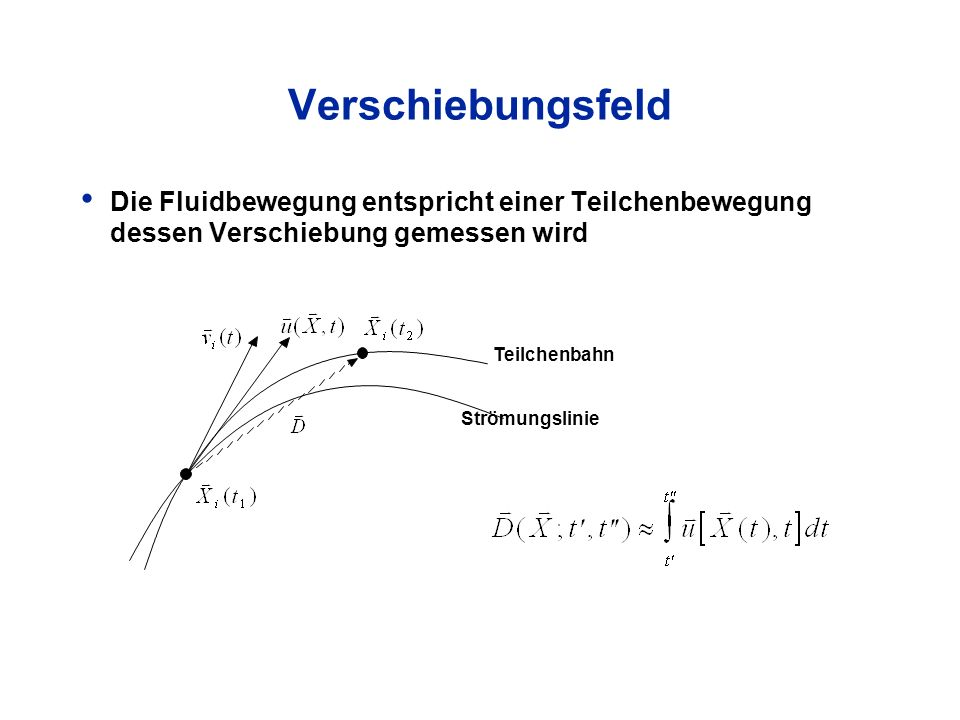 Verschiebungsfeld Die Fluidbewegung entspricht einer Teilchenbewegung dessen Verschiebung gemessen wird.