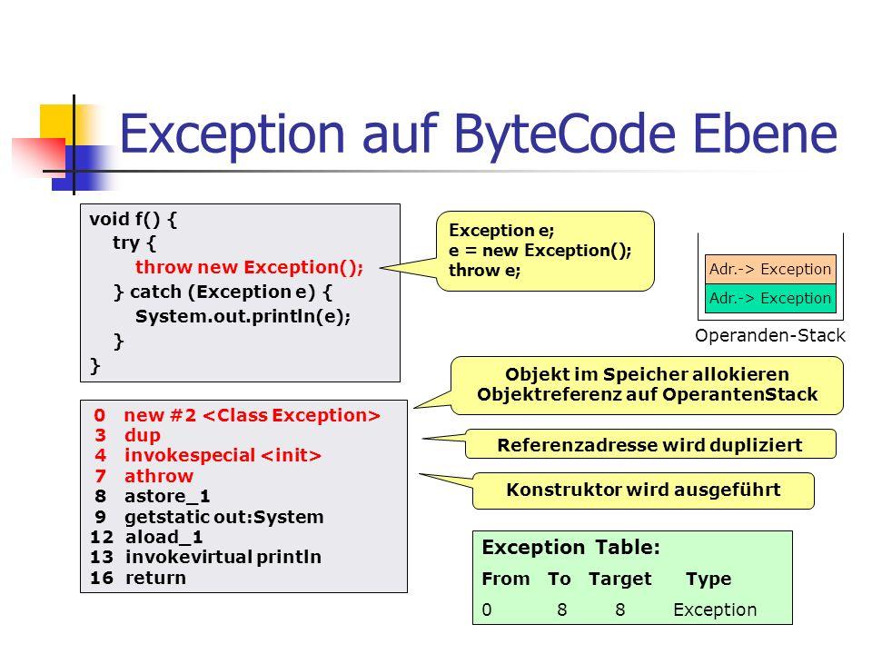 Exception auf ByteCode Ebene