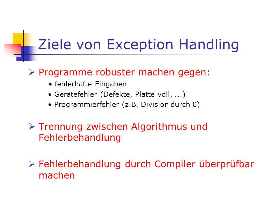 Ziele von Exception Handling