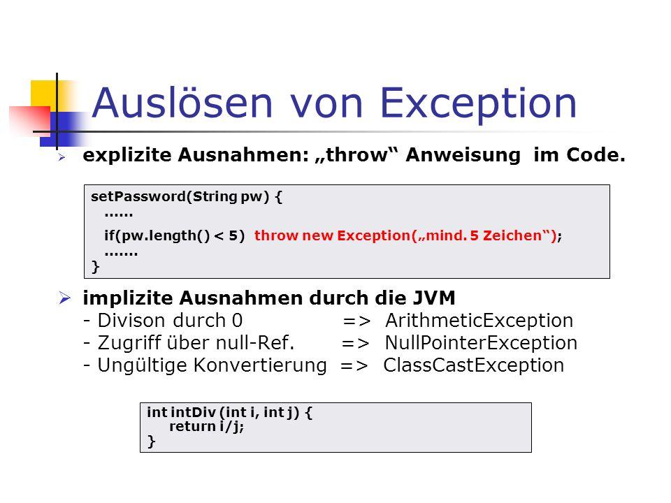 Auslösen von Exception