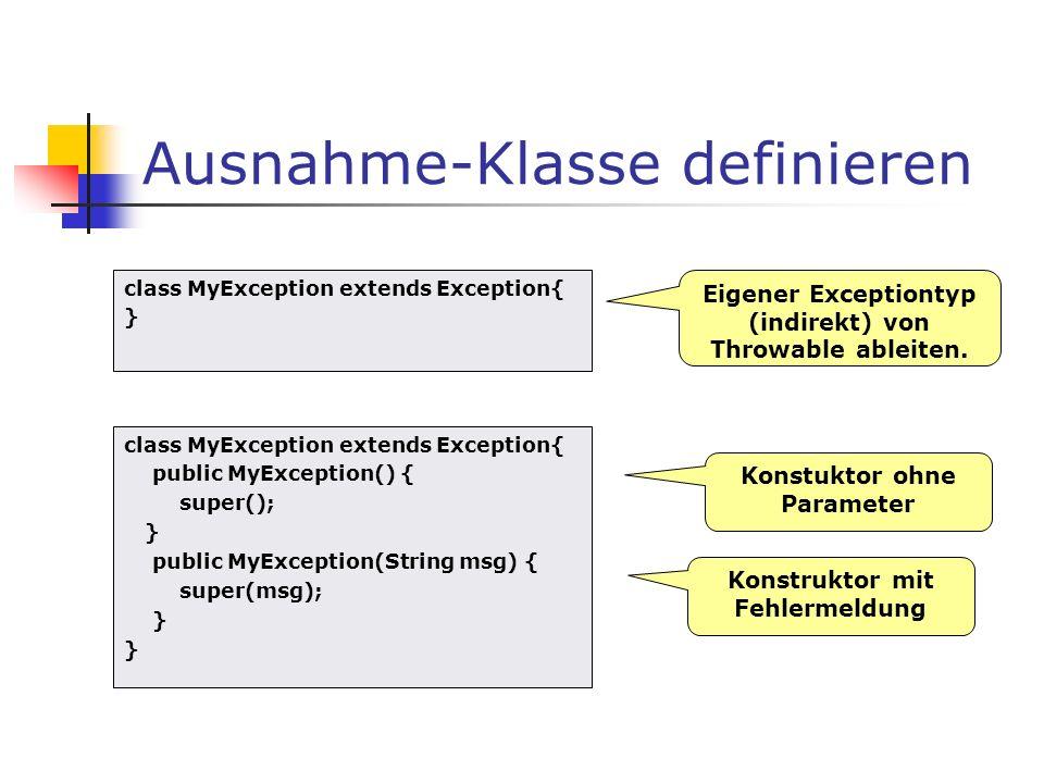 Ausnahme-Klasse definieren