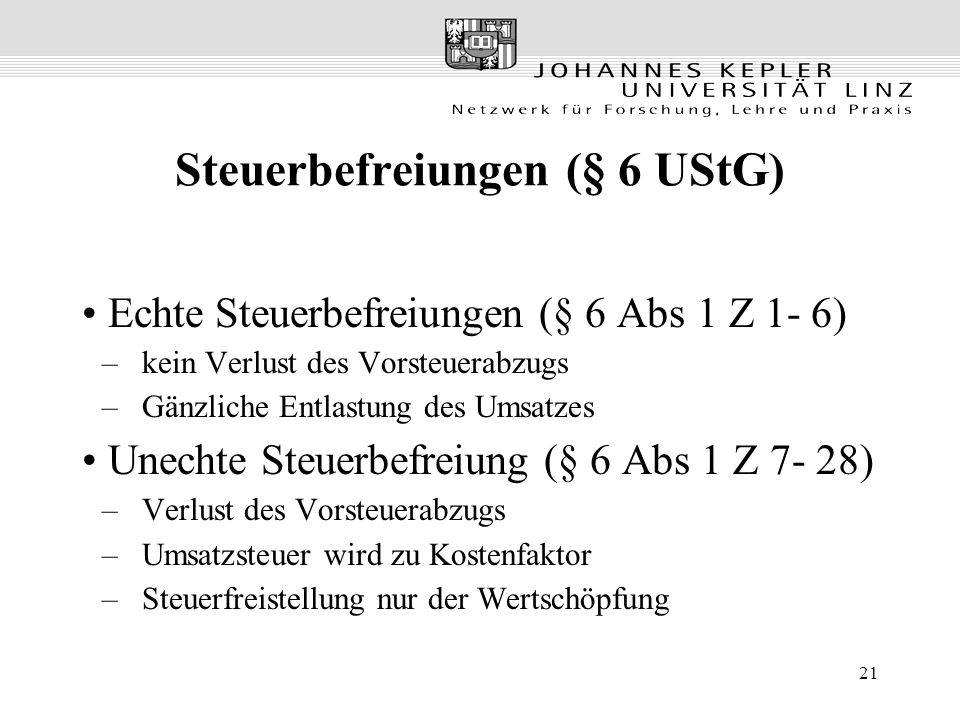 Steuerbefreiungen (§ 6 UStG)