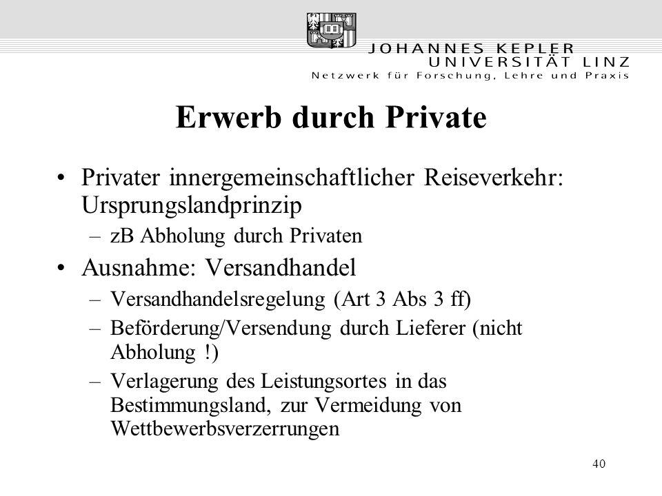 Erwerb durch Private Privater innergemeinschaftlicher Reiseverkehr: Ursprungslandprinzip. zB Abholung durch Privaten.