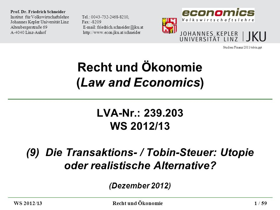 Recht und Ökonomie (Law and Economics)