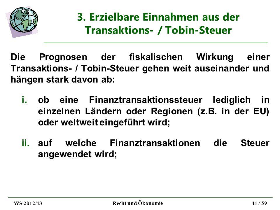 3. Erzielbare Einnahmen aus der Transaktions- / Tobin-Steuer