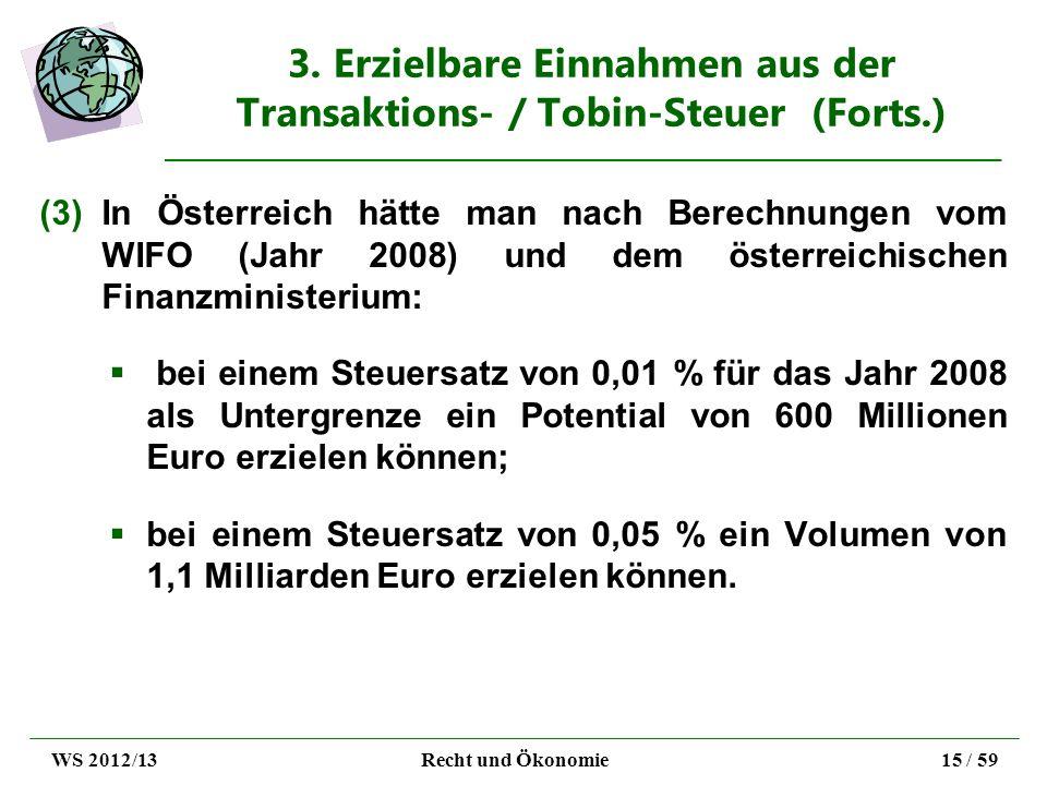3. Erzielbare Einnahmen aus der Transaktions- / Tobin-Steuer (Forts.)