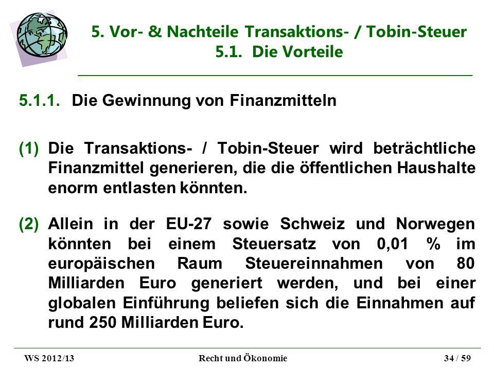 5. Vor- & Nachteile Transaktions- / Tobin-Steuer 5.1. Die Vorteile