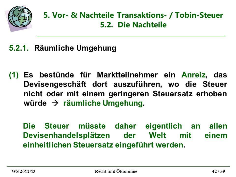 5. Vor- & Nachteile Transaktions- / Tobin-Steuer 5.2. Die Nachteile
