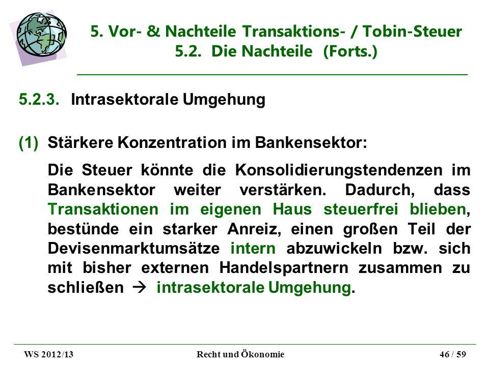 5.2.3. Intrasektorale Umgehung Stärkere Konzentration im Bankensektor:
