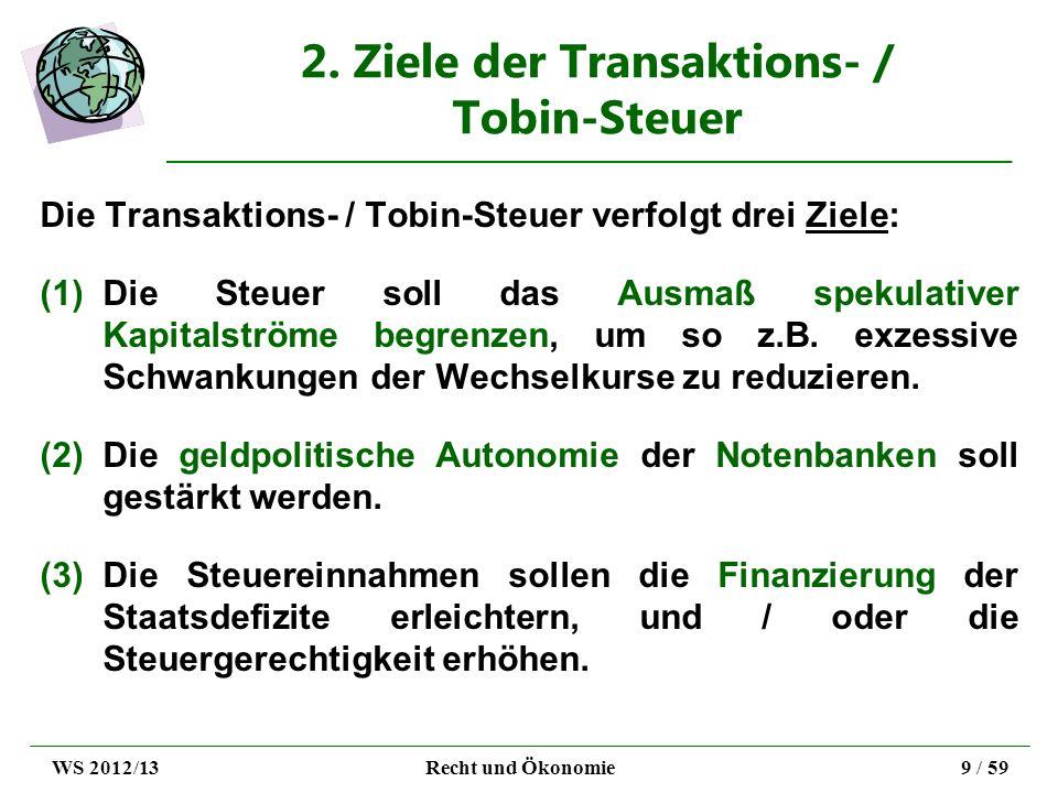 2. Ziele der Transaktions- / Tobin-Steuer