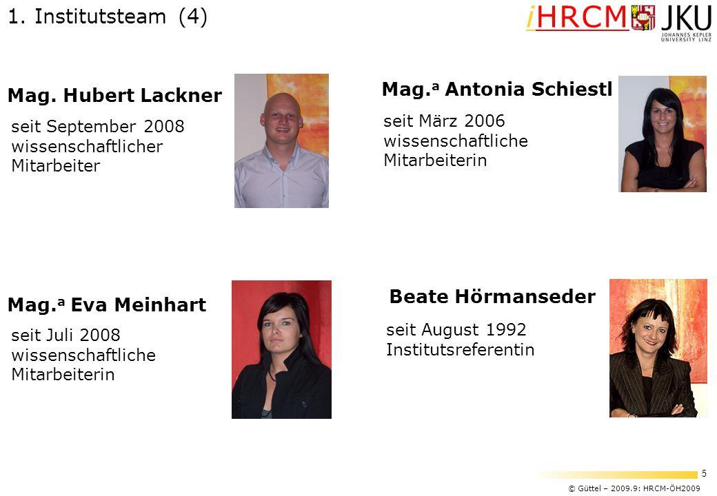1. Institutsteam (4) Mag.a Antonia Schiestl Mag. Hubert Lackner