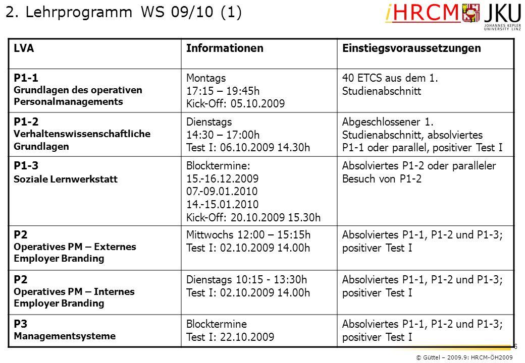 2. Lehrprogramm WS 09/10 (1) LVA Informationen