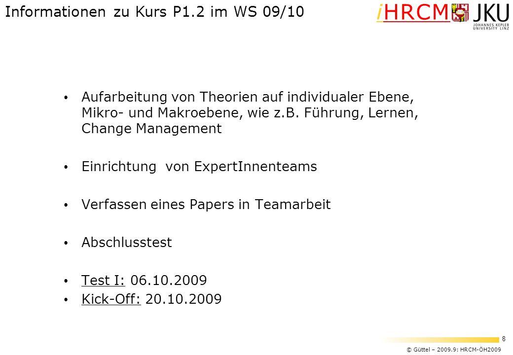 Informationen zu Kurs P1.2 im WS 09/10