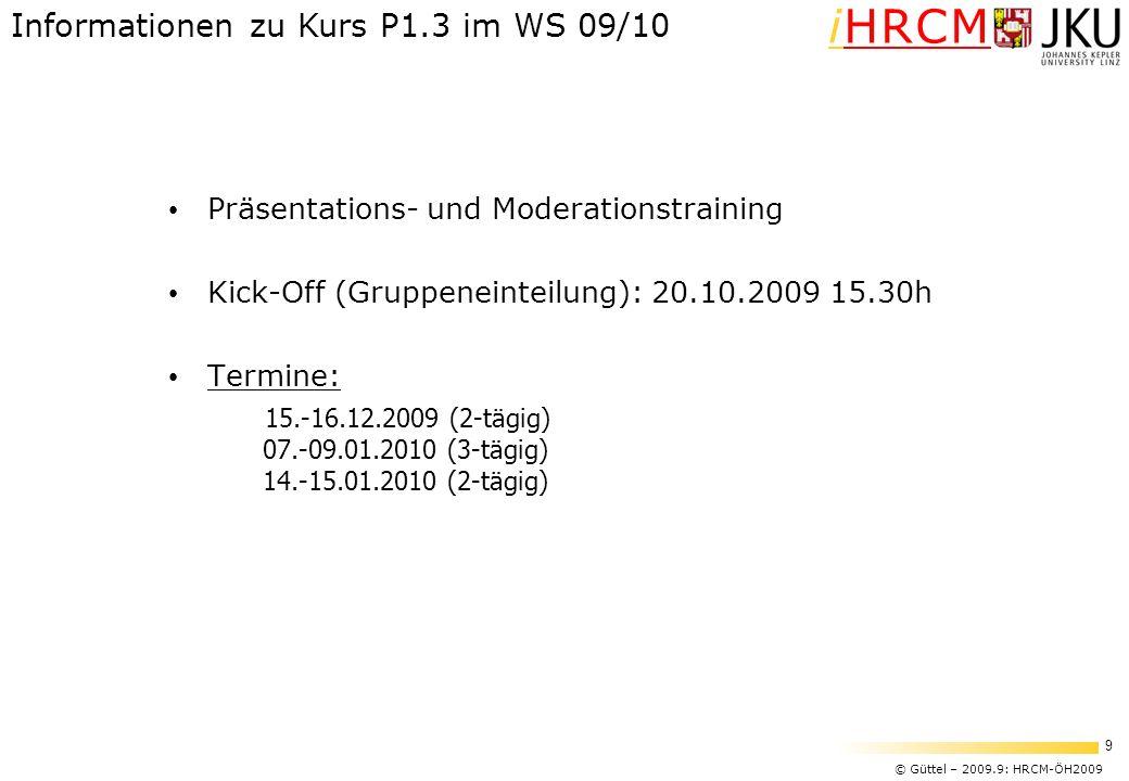 Informationen zu Kurs P1.3 im WS 09/10